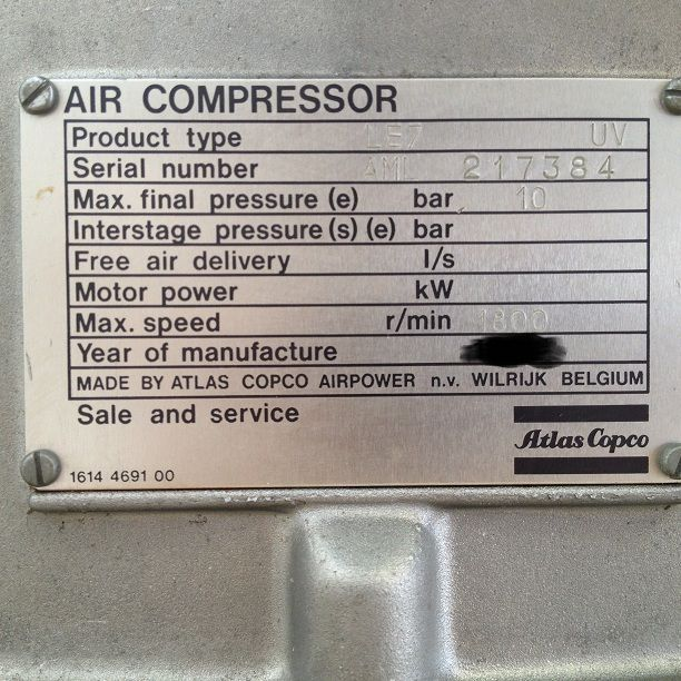 123AT100 - COMPRESSORE PISTONI ATLAS COPCO